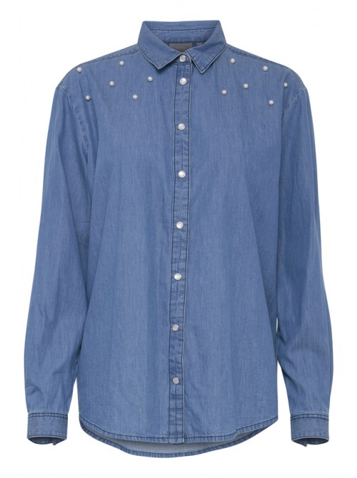 Imogen byoung pearl embellished denim shirt