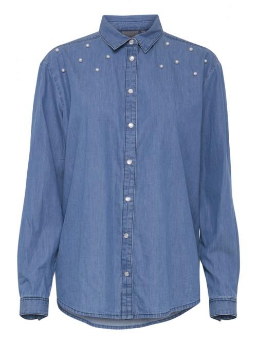 Imogen byoung pearl embellished denim shirt