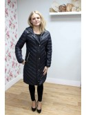 Elsa black long duck down jacket with hood from byoung