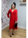 Katie Red chiffon tie waist wrap dress from bYoung