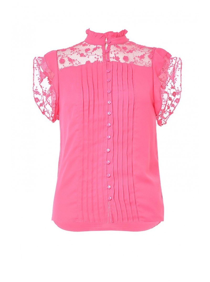 Carmen cerise pink short sleeve high lace neck top