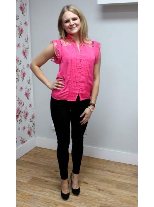 Carmen cerise pink short sleeve high lace neck top