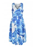 Sarah White and Blue floral shift dress