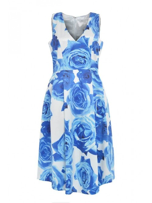 Sarah White and Blue floral rose sleeveless shift dress with pockets