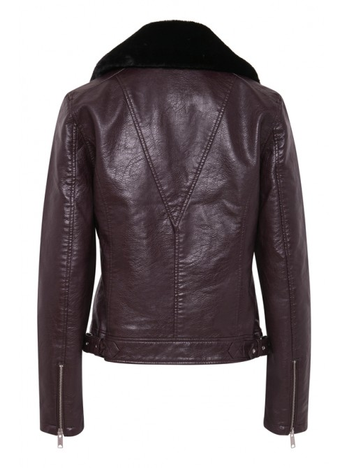 Gina Wine PU Biker Jacket with detachable faux fur collar