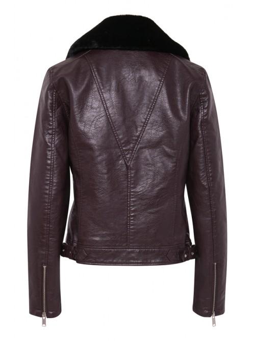 Gina Wine PU Biker Jacket with detachable faux fur collar