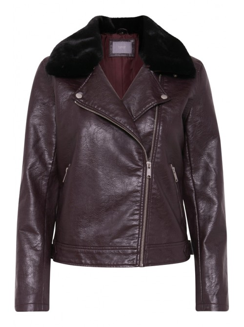 Gina Wine PU Biker Jacket from BYoung with detachable faux fur collar
