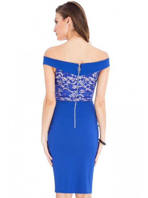Ava Cobalt Blue Lace Off the Shoulder Midi Dress