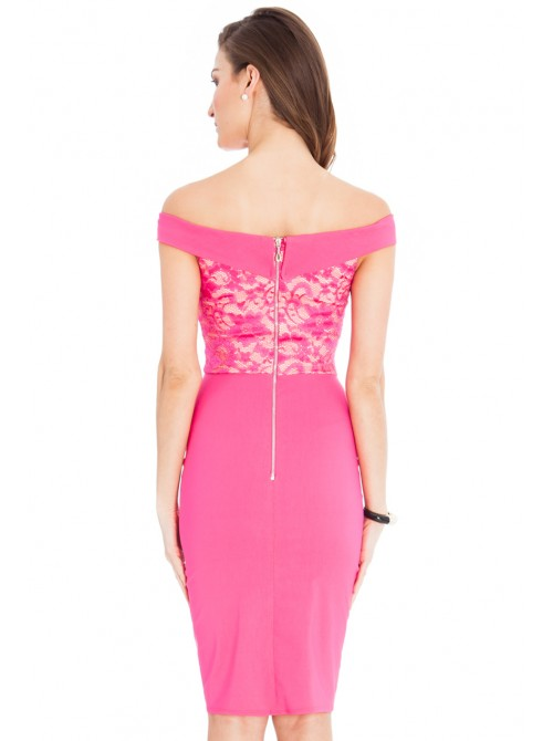 Ava Cerise Pink Lace Off the Shoulder Midi Dress