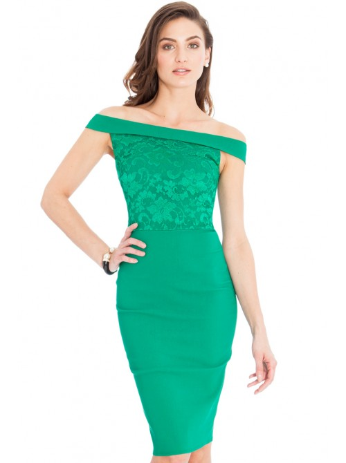 Ava Jade Green Lace Off the Shoulder Midi Dress