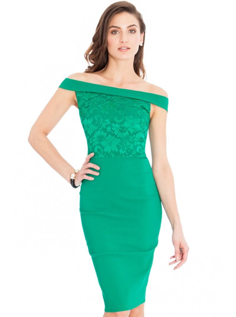 Ava Jade Green Lace Off the Shoulder Midi Dress