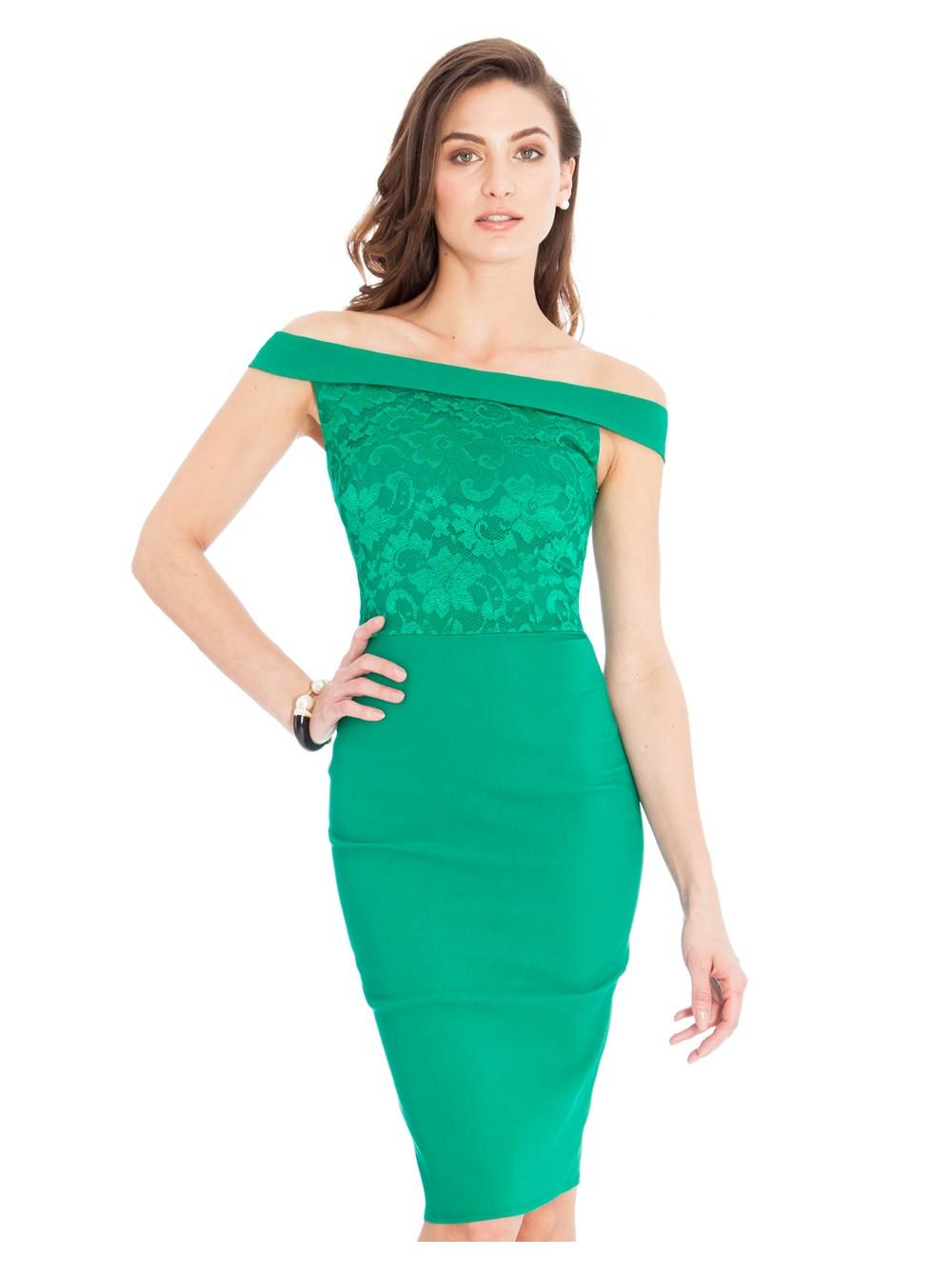 d6b5e5f0cbe Ava Cobalt Jade Green Lace Off the Shoulder Midi Dress
