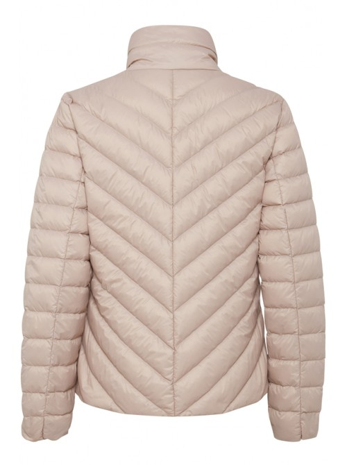 Heather pink Duck down short jacket with zip pockets and collar