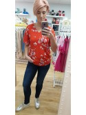 Zara Red Cherry blossom print byoung blossom top