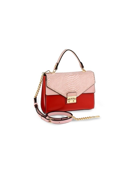 Clara Pink & Burgundy Cross Body Snake Print Shoulder Bag