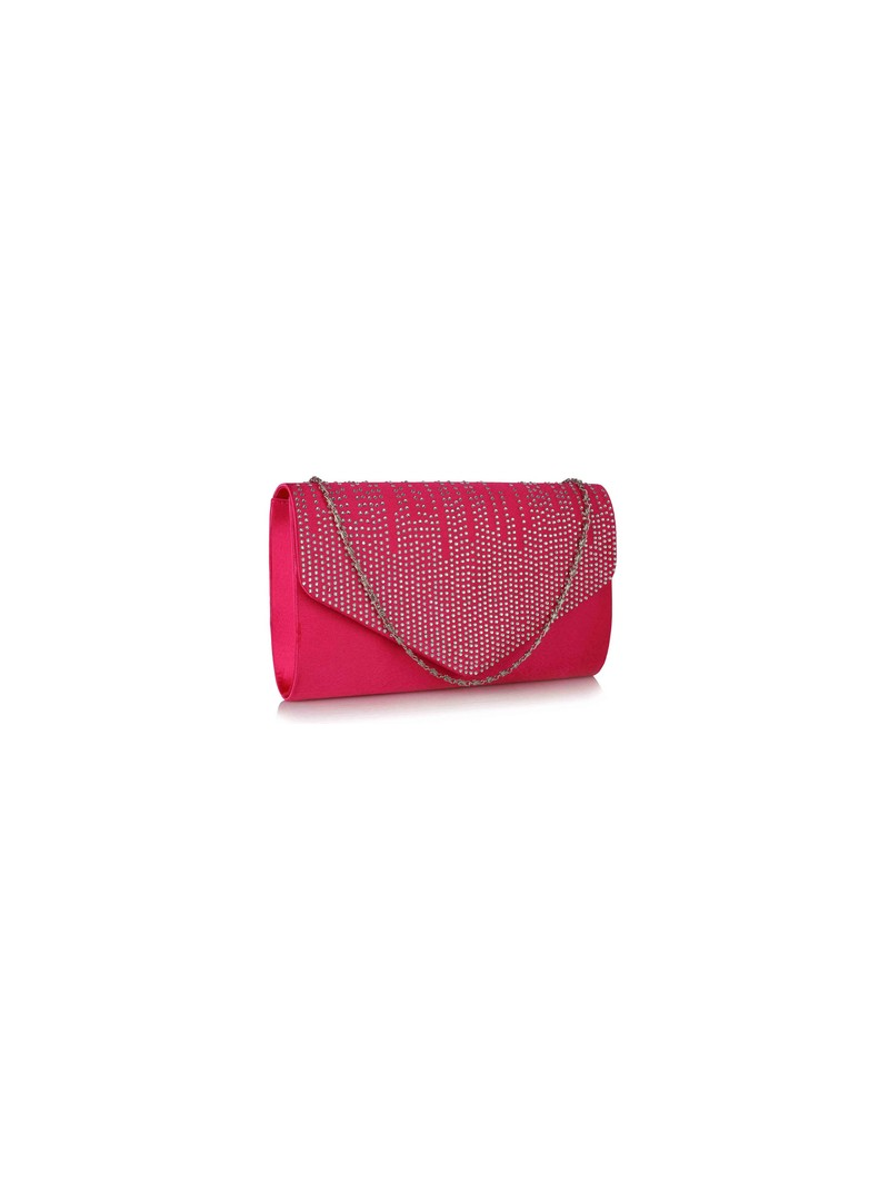 Diana Pink Diamante Design Evening Flap Over Party Clutch Bag