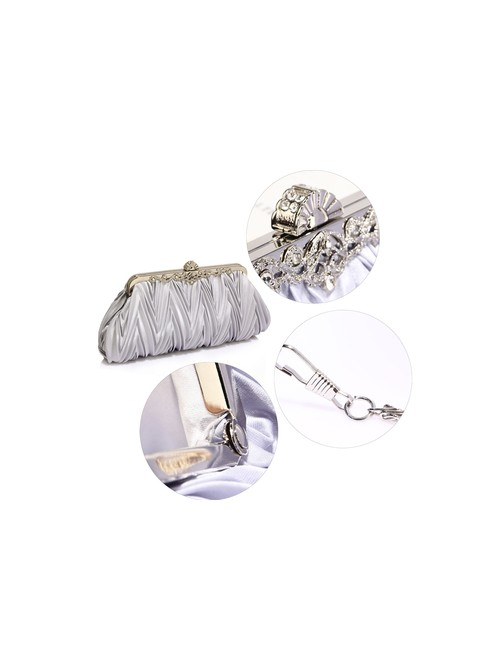 Crystal Silver Satin Evening Clutch bag with chain