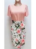 Lauren Peach floral print Midi Dress with belted waist