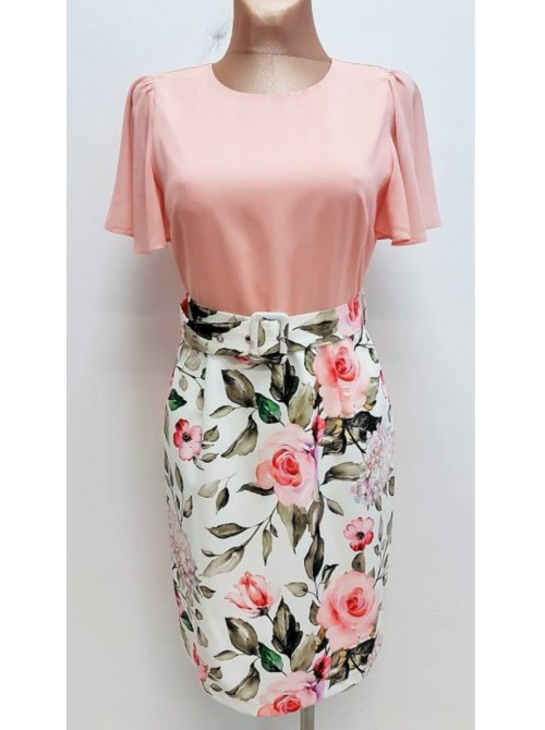 Lauren Peach floral print Midi Dress with belted waist
