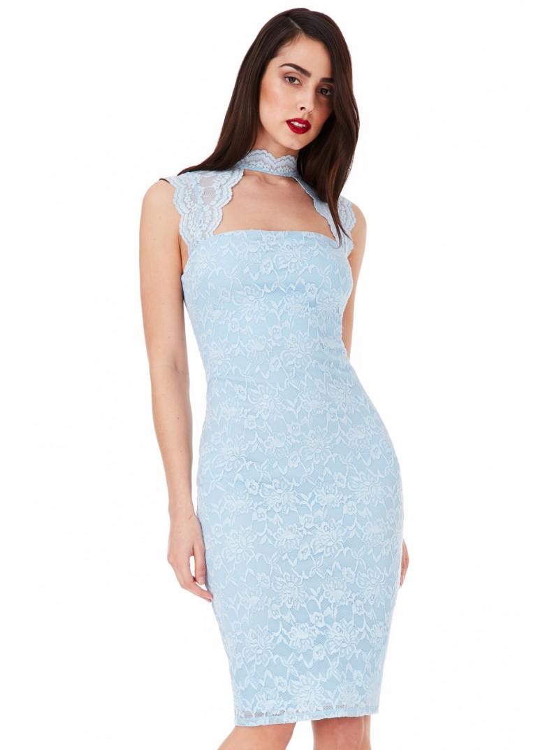Lisa Powder Blue High Neck Cut Out Lace Midi Dress