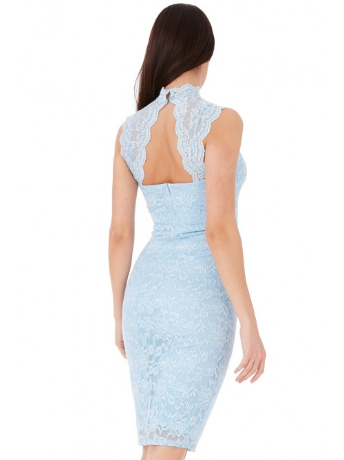 Lisa Powder Blue High Neck Cut Out Lace Midi Dress