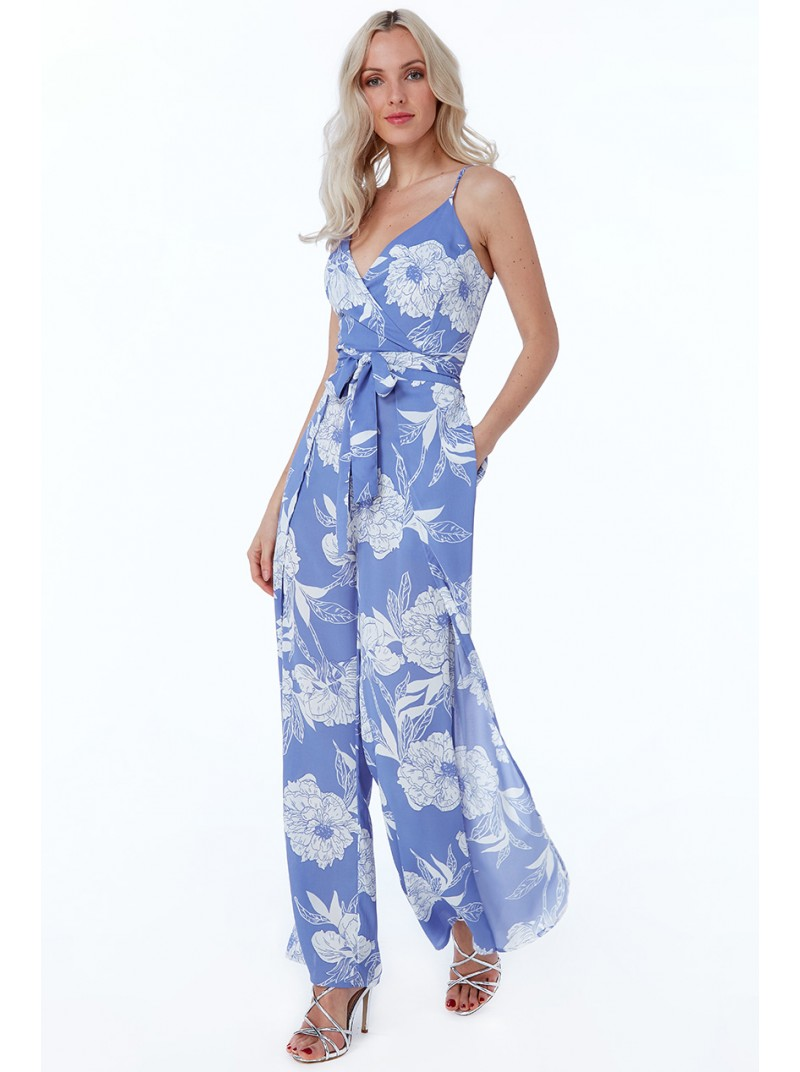 Davina Floral Blue print wide leg wrap style jumpsuit with pockets