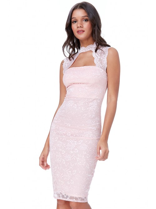Lisa Blush Pink High Neck Cut Out Lace Midi Dress