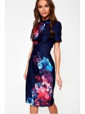 Natalie Navy and vibrant pink sleeved floral midi dress
