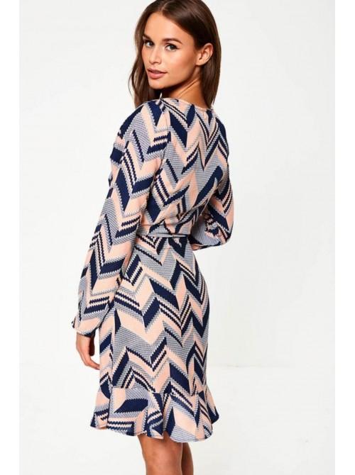 Rebecca Ruffle Dress in Navy & Pink Chevron Print