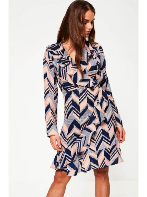 Rebecca Ruffle Wrap Style Dress in Navy & Pink Chevron Print