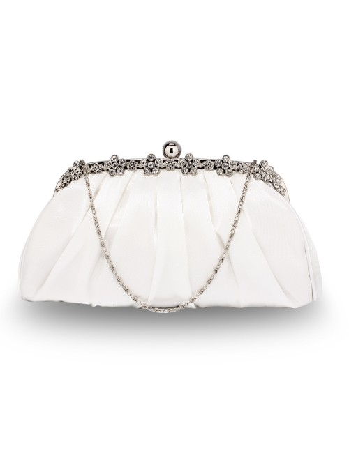 Juliette Ivory Satin Clutch Bag