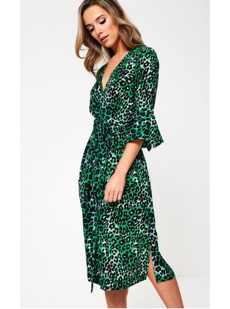 Irina Green Leopard Print Wrap Style Dress