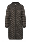 Mia Peat Green Duck down long jacket with hood from byoung