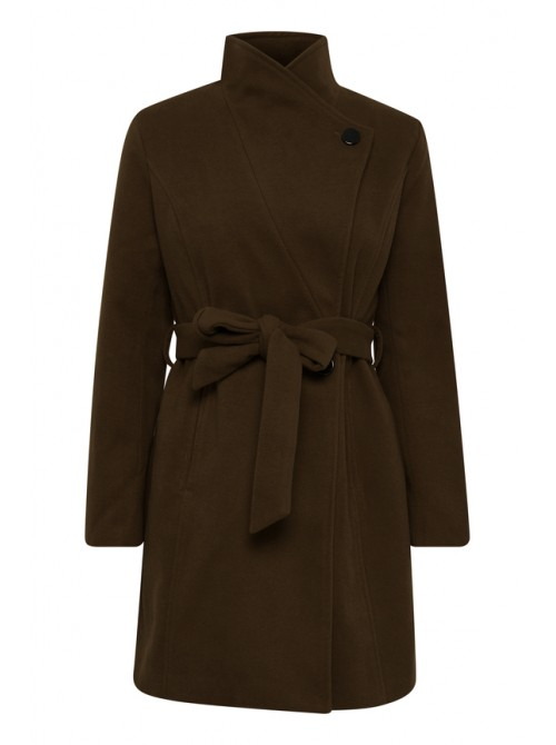 Amelia olive green long jacket with belt from byoung