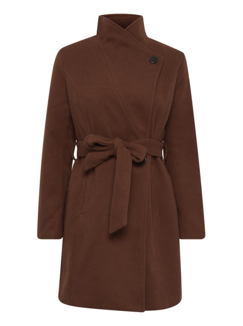 Amelia Rust Copper brown long jacket with belt from byoung
