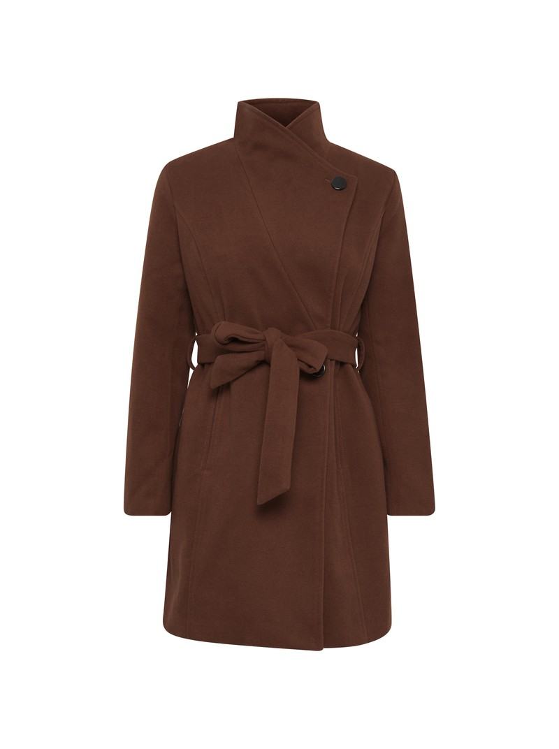Amelia dark brown long jacket with belt from byoung