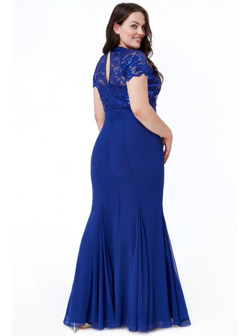Abbey royal blue chiffon sequin embellished maxi Dress