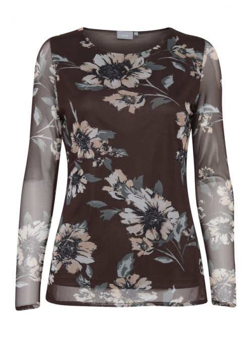 Layla flower print chocolate brown Byoung top