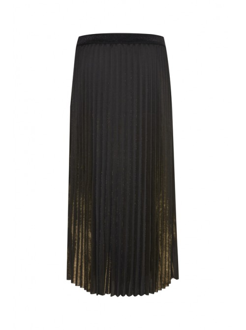 Luna Black with Gold Pleated Maxi Skirt by B.young