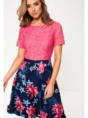 Leanne Pink and Navy Skater Dress