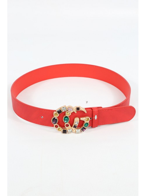 Zara Red belt with colorful glass stone Buckle