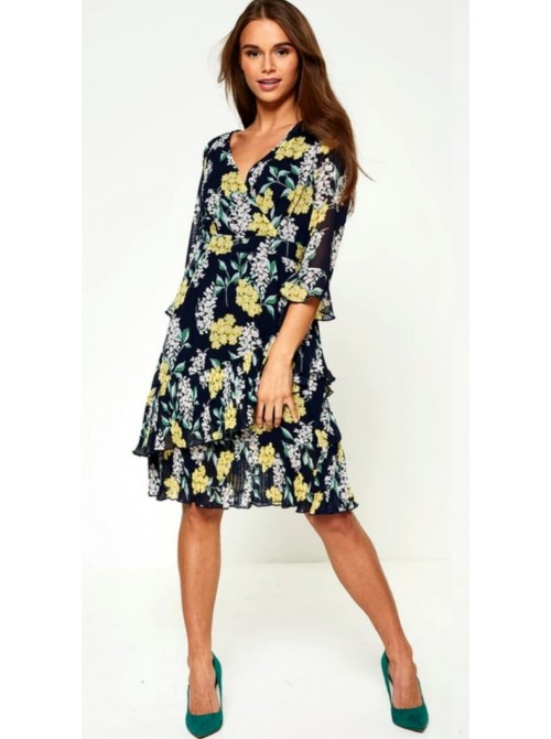 Aria Navy with Yellow Flowers Midi Dress with belt