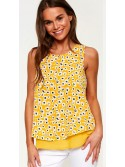 Nora floral print yellow sleeveless top
