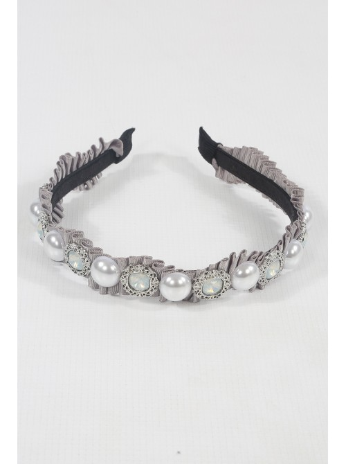 Crepe Embellished Taupe Hair Band