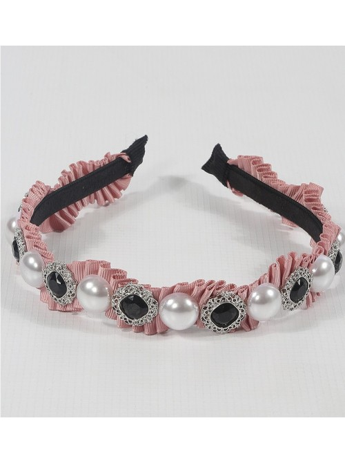 Crepe Embellished Pink Hair Band
