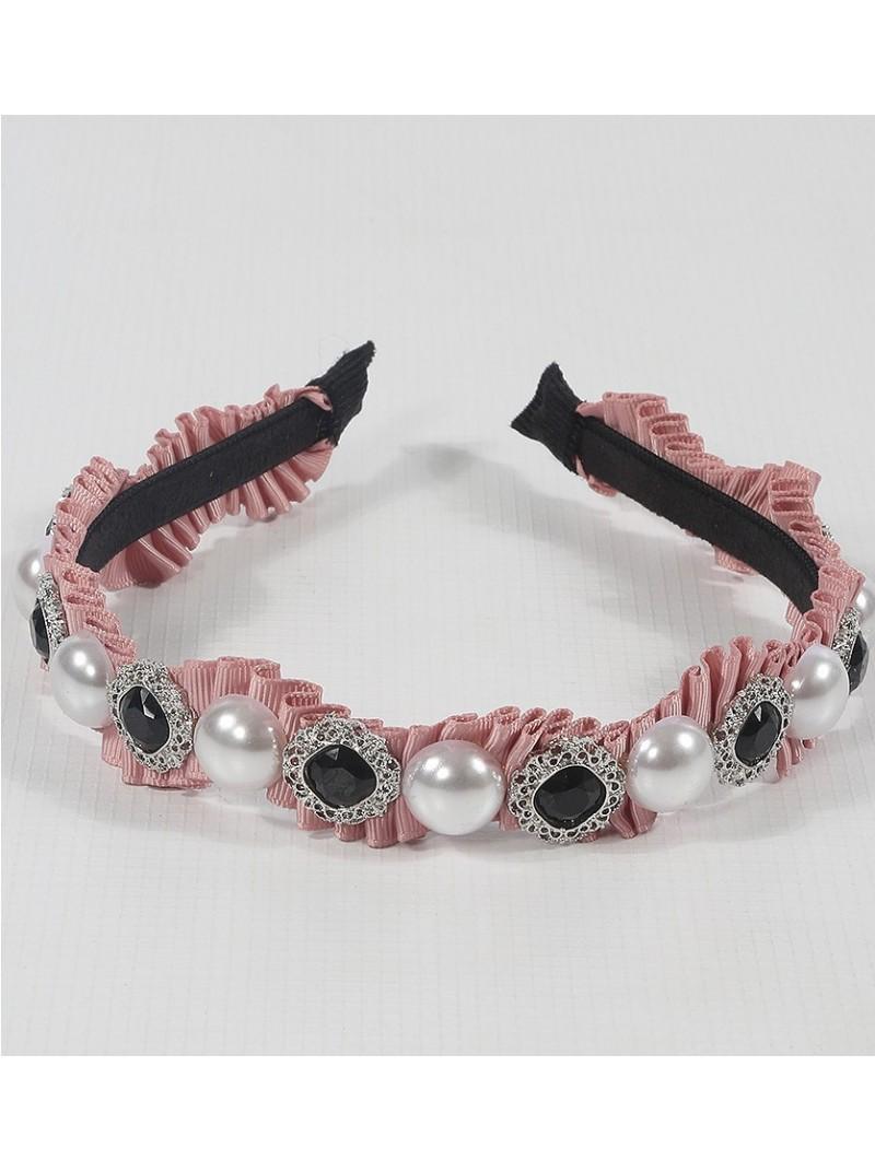Crepe Embellished Pink Hair Band