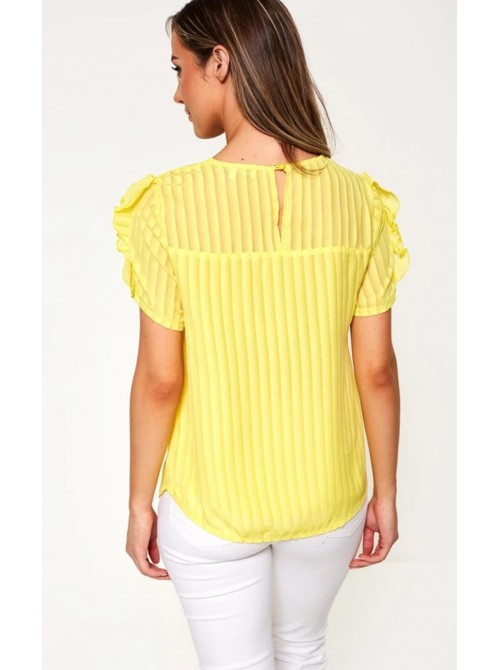 Mila Yellow striped short sleeve top