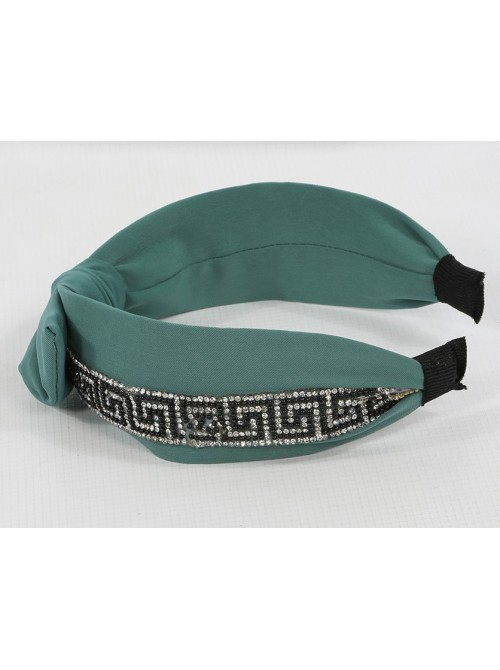 Diamonte Pattern Knotted Head Band Green Color