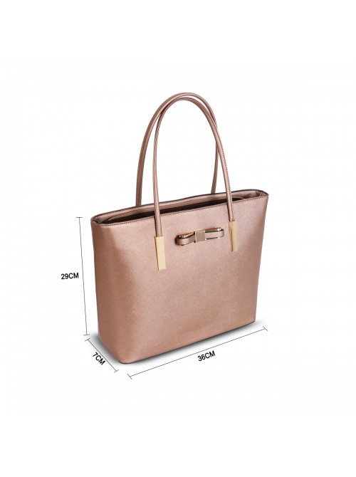 Clara handbag with bow detail tote bag in Bronze