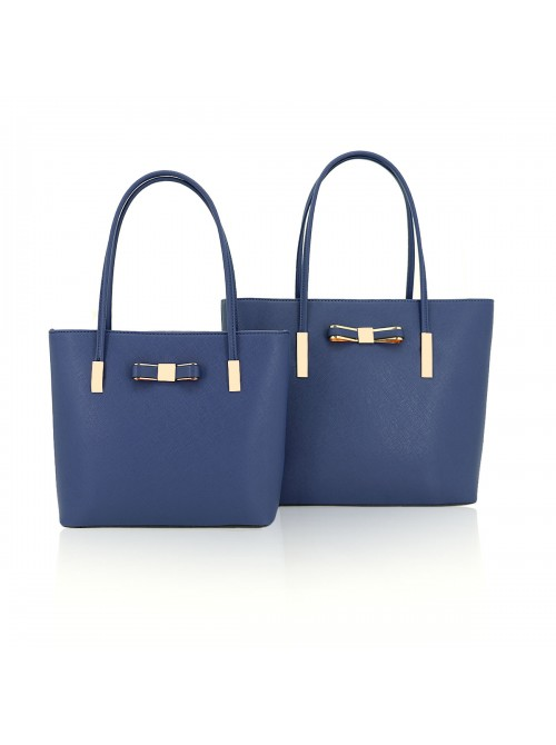 Clara handbag with bow detail tote bag in Navy Blue